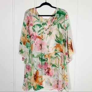Other - Floral Beach Cover Up Tunic Top Plus Size 2X